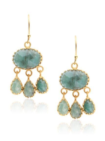 Rococo Dangle Earrings, Emerald