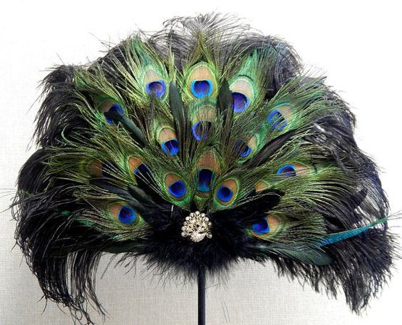 Victorian Peacock | Victorian Peacock Black Ostrich Feather Fan Wedding Bridal Party 24x18 ...: