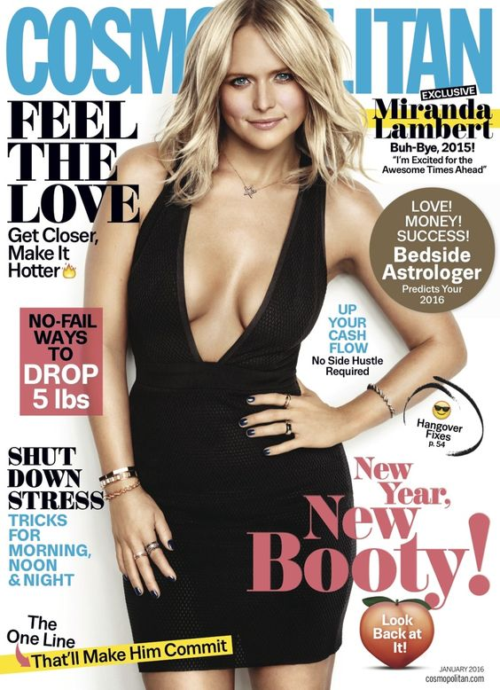 Miranda Lambert wears a little black dress Pose on Cosmopolitan Magazine January 2016 cover shoot