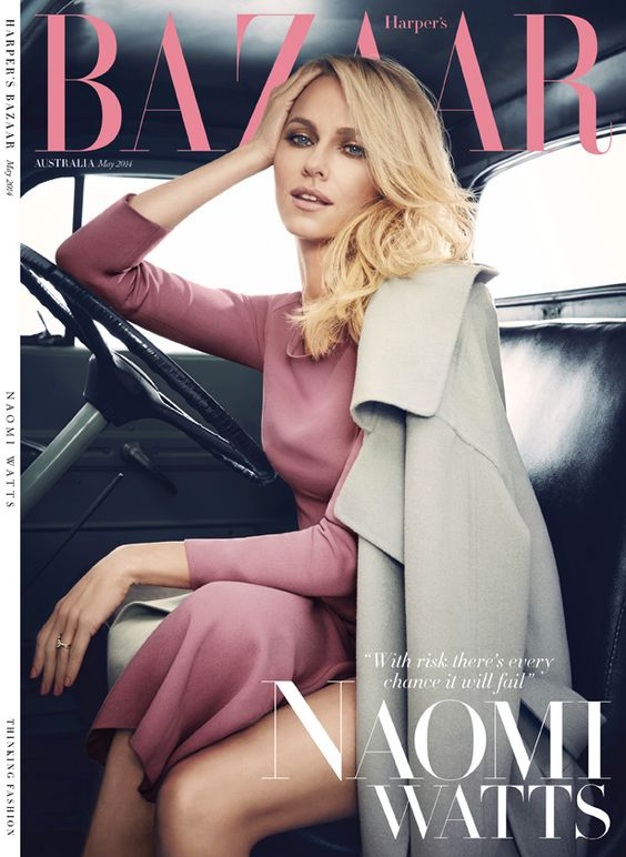 Naomi Watts covers Harper's Bazaar Australia May 2014 shot by James White with Hair by Robert Vetica.