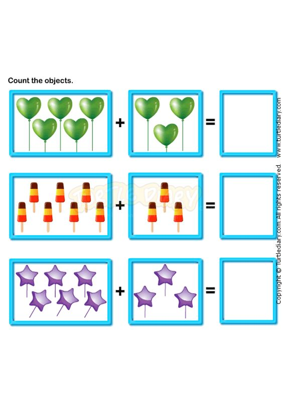 Picture Addition worksheets - preschool math | Kindergarten math ...