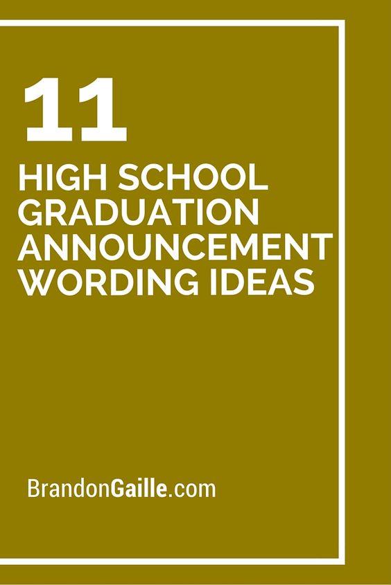11 High School Graduation Announcement Wording Ideas ...