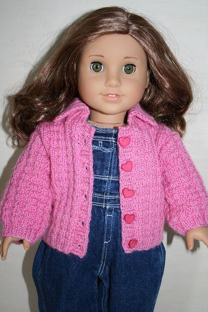 Free Knit Pattern American Girl Doll Cardigan Jacket 18 Doll