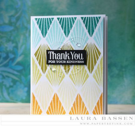 From Laura Bassen. Threads Challenge: Thread Nests - Thank You Card by Laura Bassen for Papertrey Ink (August 2015)