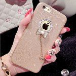 iphone 6 plus caseGomyc Luxury Hybrid Bling Crystal Rhinestone bow-knot Pendent Charms with sparkly Glitter soft Rubber Protective Diamond Case for iPhone 6 plus/6s plus 5.5inch champagne