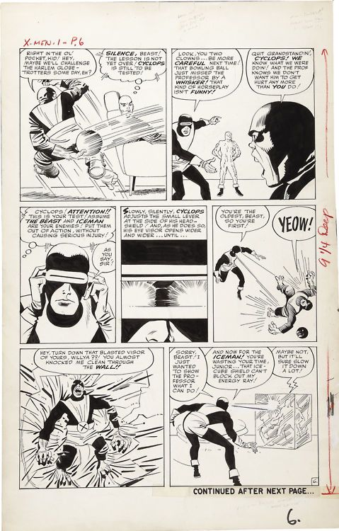 Stan Lee, Jack Kirby, Paul Reinman, Sam Rosen | X-Men #1, page 6, 1963. Original page, uncoloured. | #comics #marvel