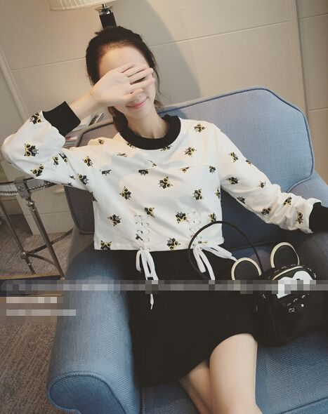 Korean Style Cute Printing Long Sleeve Tee_T-Shirts_Tops_Women's clothing_Wholesale Clothing online from China,Cheap Korean clothes wholesaler