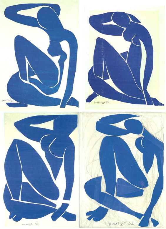"vervediary: ""Nu bleu I, Nu bleu II, Nu bleu III, Nu bleu IV Henri Matisse 1954 "":"