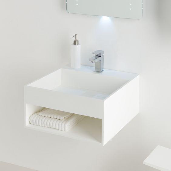 Bathroom furniture. Soakology Ice 510mm S Cast Solid Surface Wash Basin   In built