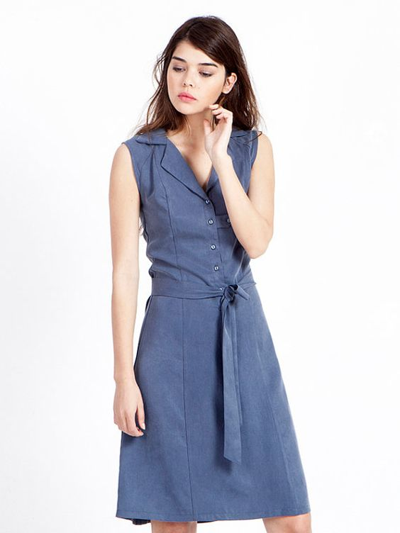 SALE denim blue dress - sleeveless dress - shirt dress - midi dress - summer dress - office wear - business casual dresses - cocktail dress