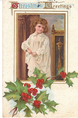 Vintage Postcard Christmas Child in Nightshirt Holly 1909 Embossed
