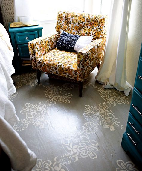 painted wood floors-  Gutsy...thinking about doing this- re-staining hardwood with a gray stain..stencil bedroom floor.   Whatchya  all think?