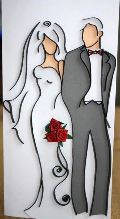 Bride & Groom quilled: