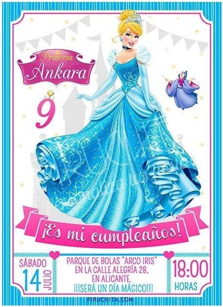 Invitacion Cumpleanos De La Cenicienta 2021 Gratis Invitaciones De Cumpleanos Cenicienta Invitaciones Para Fiesta De Princesa