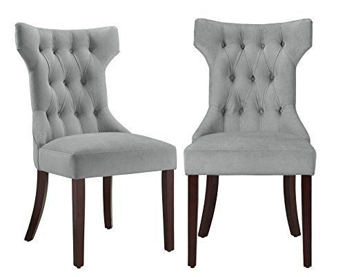 Dorel Living Clairborne Tufted Upholestered Dining Chair, Gray, Set of 2  | eBay