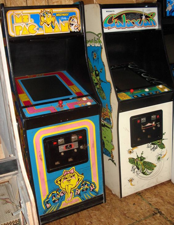 Carolina Gaming Company - Ms. Pacman & Galaxian. Two original arcade game cabinets ready to be restored. #carolinagamingcompany