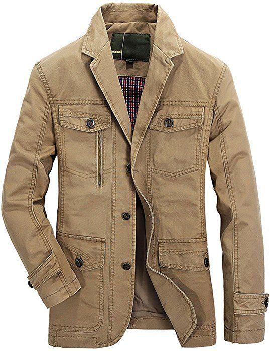 chouyatou Mens Slim 2-Button Single Breasted Cotton Lightweight Blazer Jacket Sport Coat