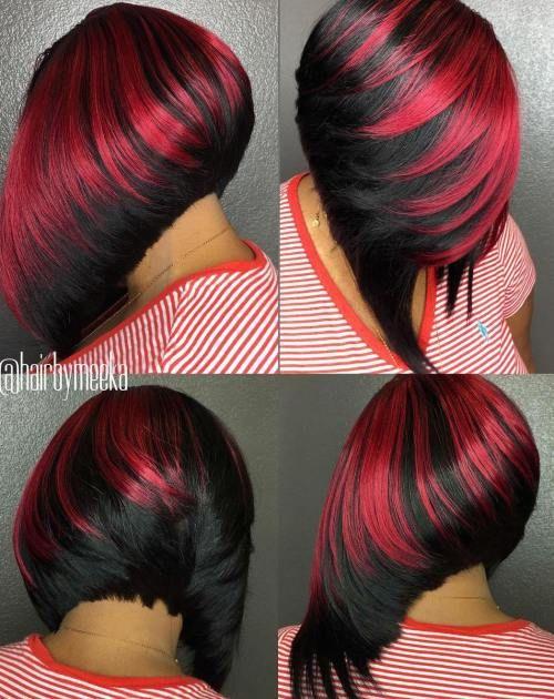 Black And Red Angled Bob Weave Haarschnitt Bob Frisuren Haarschnitte Haarschnitt