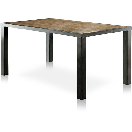 Lena I Industrial Dining Table in Weathered Oak