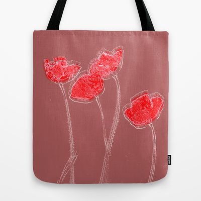 Poppies(grace). ToteBag by Mary Berg - $22.00    #totebags #society6 #blue #pink #poppies #red #textile #women #contemporary