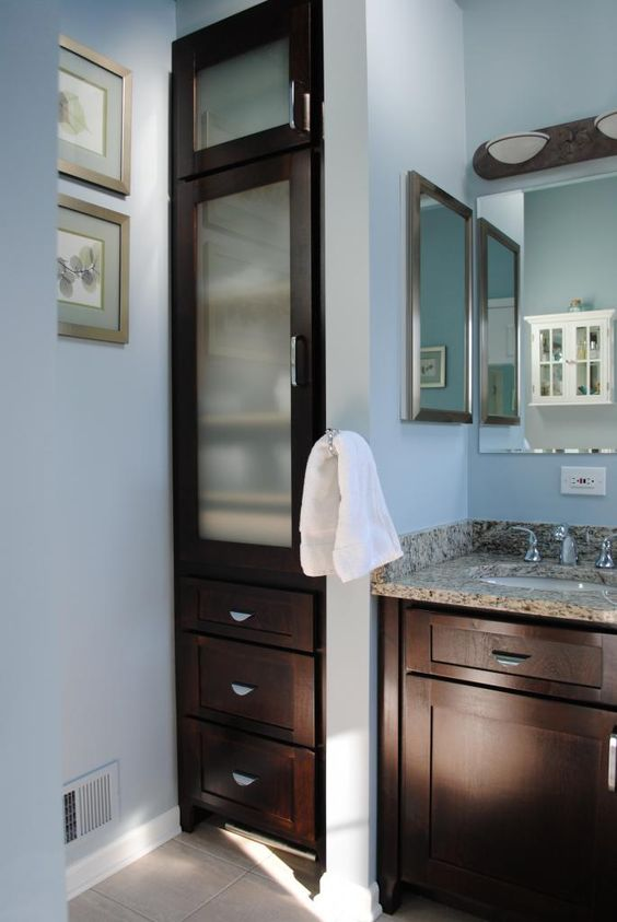 Vanities glasses and cabinets on pinterest - Bathroom vanity with frosted glass doors ...