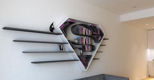 Para o quarto dos seus filhos, estantes super divertidas inspiradas nos símbolos dos super heróis! http://zip.net/bstnD5