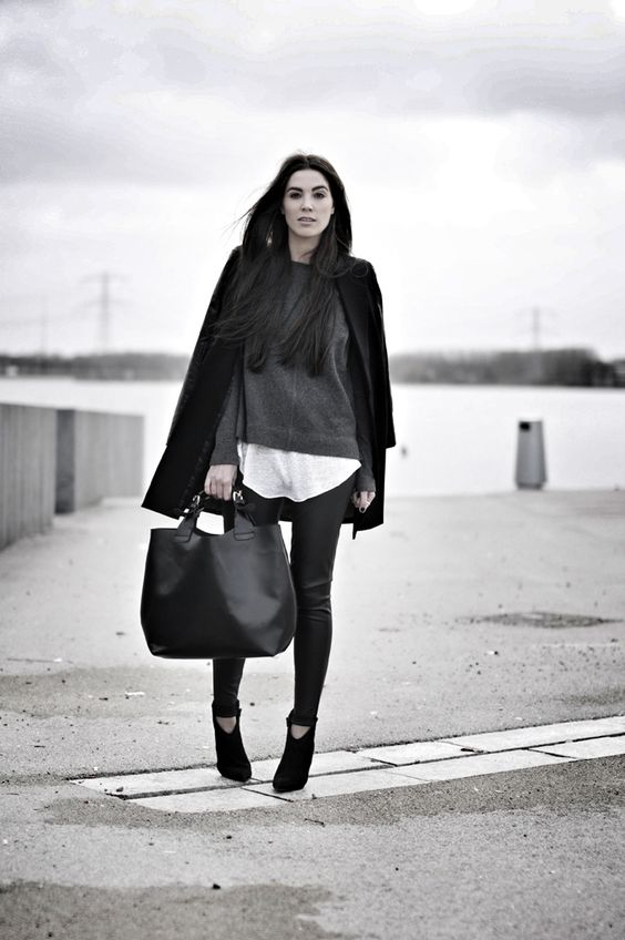 Cindy Van Der Heyden Is Wearing Leather Sleeves Blazer From Romwe, Faux Leather Trousers, Top, T-Shirt And Bag From Zara And Boots From Rive...