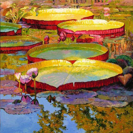 Golden Light On Pond Painting