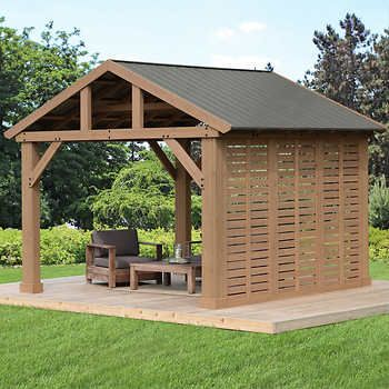 12 Pavilion Privacy Wall In 2020 Backyard Pavilion Outdoor Pergola Patio Gazebo