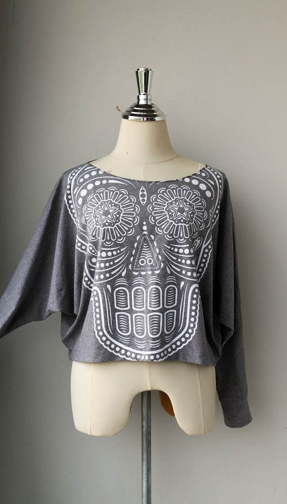 White Ancient Art Skull Printed  Pullover Oversize by Tshirt99, $23.99