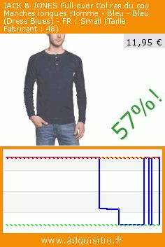JACK & JONES Pull-over Col ras du cou Manches longues Homme - Bleu - Blau (Dress Blues) - FR : Small (Taille Fabricant : 48) (Vêtements). Réduction de 57%! Prix actuel 11,95 €, l'ancien prix était de 27,97 €. http://www.adquisitio.fr/jack-jones/pull-over-col-ras-du-cou-94