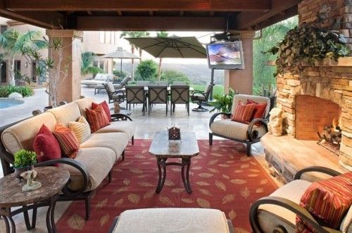 """Said by another pinner: """"pool side cabana with fireplace? sold."""" ;-)"""