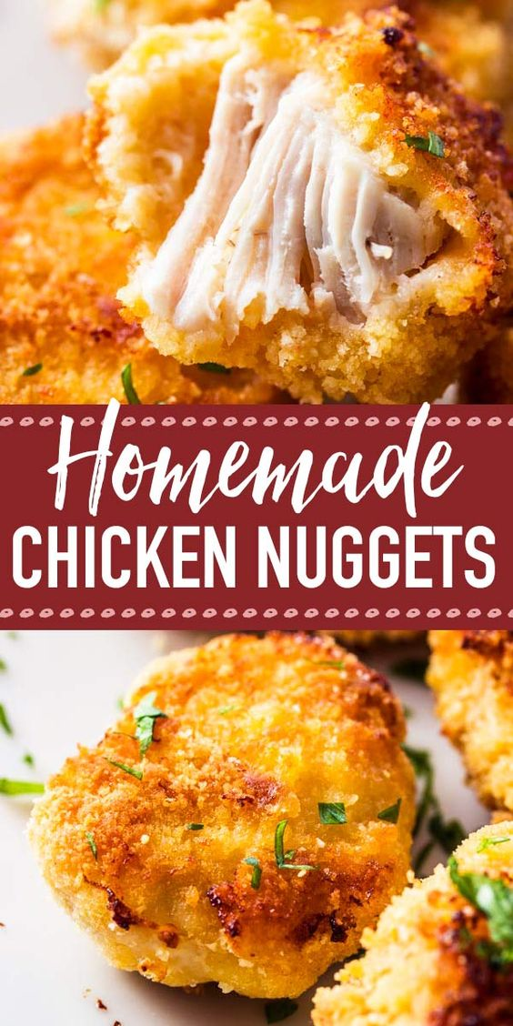 These homemade chicken nuggets are so fun to make for the kids! They're healthy as they're baked in the oven and not fried. It's a super easy recipe, and they can even be frozen, so you can make a large batch and always have some on hand! So much better than going to McDonalds :) | #recipe #easyrecipe #dinner #easydinner #kidfriendly #chicken #chickenrecipe #chickenrecipes #chickendinner #familyfriendly #fingerfood #copycat #takeoutfakeout #diy #fastfood #homemade