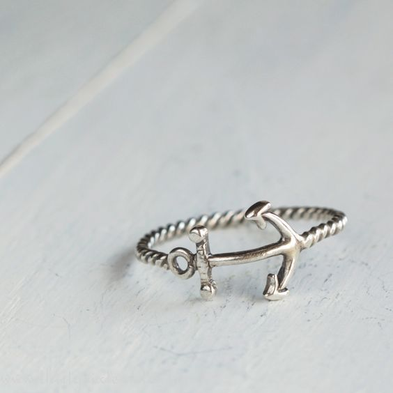Anchor Stacking Ring Sterling Silver.