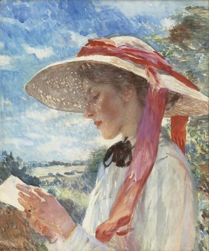 Jovem moça lendo, retrato de Florence Carter Wood Dame Laura Knight, (Inglaterra, 1877-1970) lápis e aquarela sobre papel, 61 x 51 cm