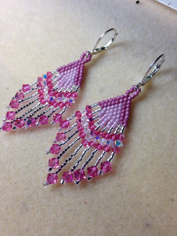 Swarovski Rose AB Crystal feather earrings that I made with lever backs
