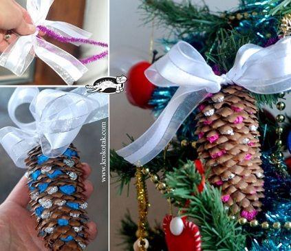 Piñas decoradas para Navidad #Pinecones #DIY for #Christmas