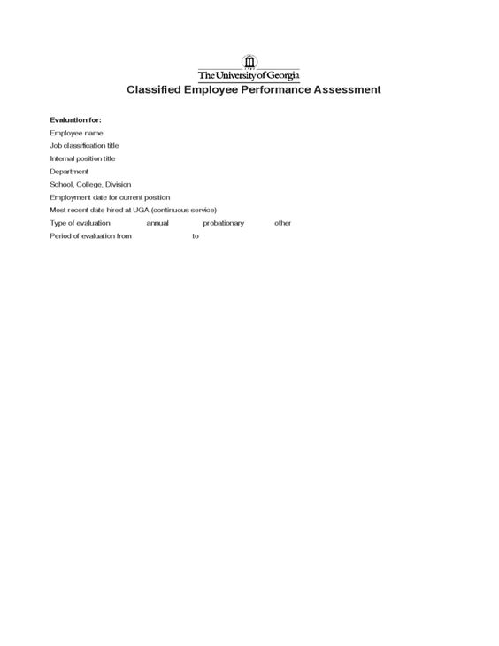 Classified Employee Performance Assessment Employee Performance - evaluating employee performance