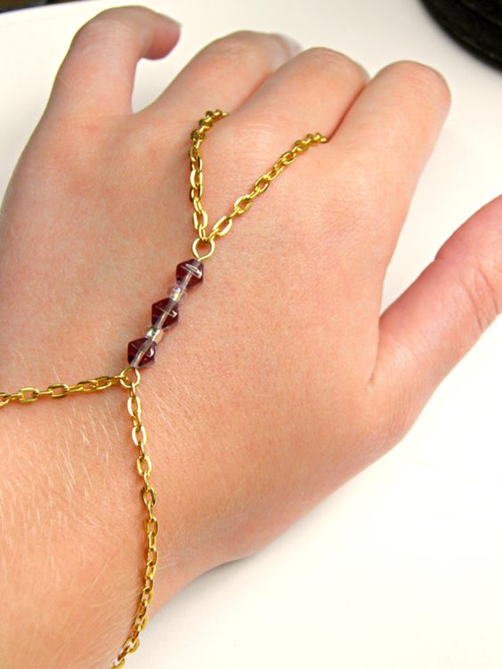 Gold Slave Bracelet Beaded Slave Bracelet Gold Hand Chain ...