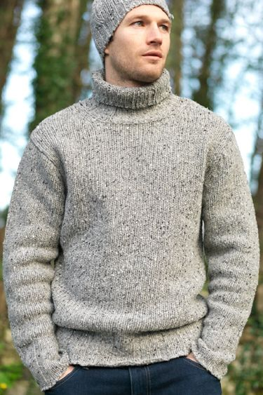 Mens Turtleneck Polo Neck Rib Donegal Wool Fall Winter