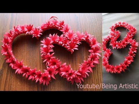 Diy Paper Heart Wall Hanging Easy Wall Decoration Ideas Paper Craft Youtube Valentine Crafts Easy Paper Crafts Diy Diy Paper
