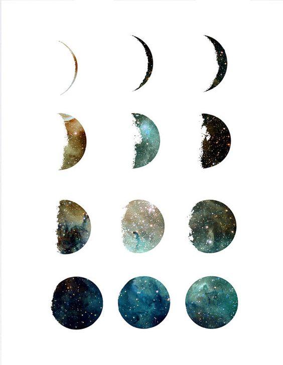 Moon phases galaxy art print, home wall decor, apartment wall art, modern print, galaxy design, moon illustration, gift, minimal
