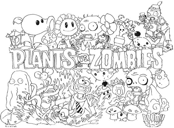 Plants vs Zombies Coloring Pages