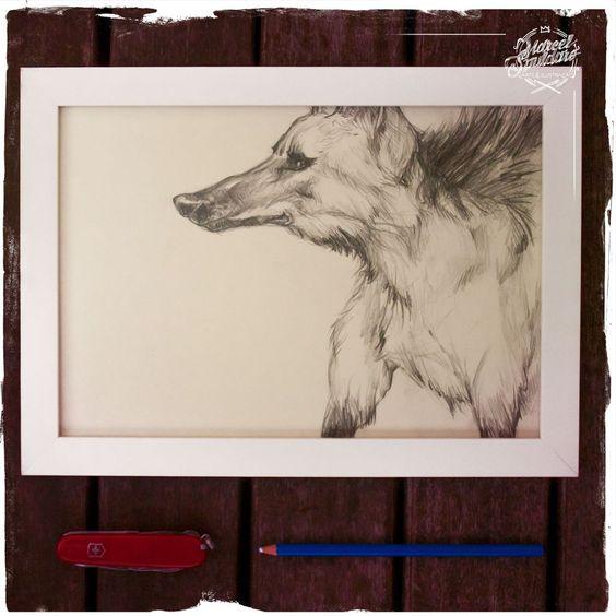 Ilustração Original - Série Lobos - Lobo Guará - Preto e Branco  -  Formato A4