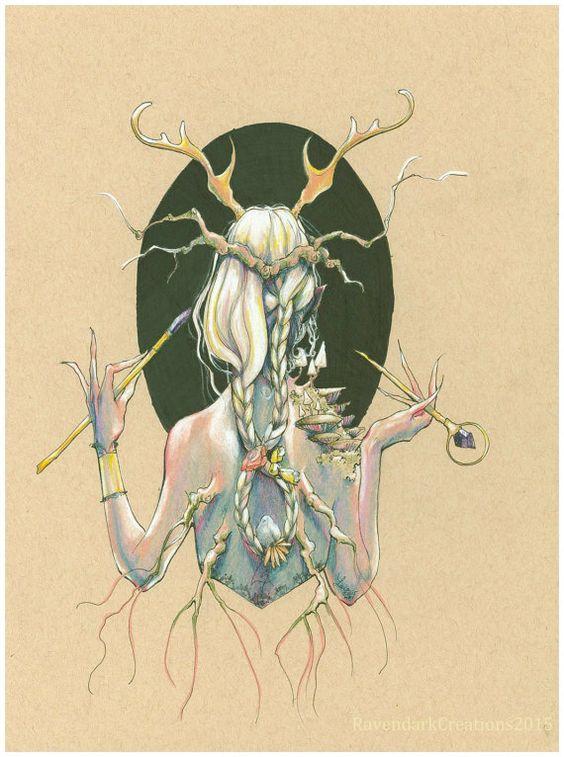 Two of Wands ORIGINAL ART fantasy art by RavendarkCreations