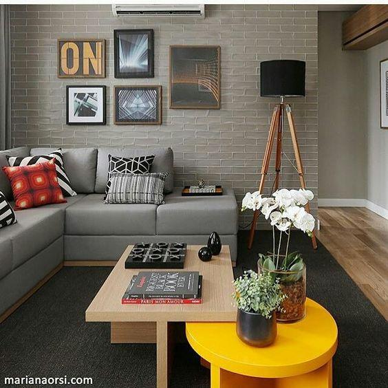 sala cinza, papel parede, mesa centro, coffee table, sofa cinza ...