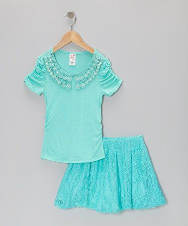 Take a look at this Mint Pearl Top & Skirt - Toddler & Girls by Candy Girl on #zulily today!