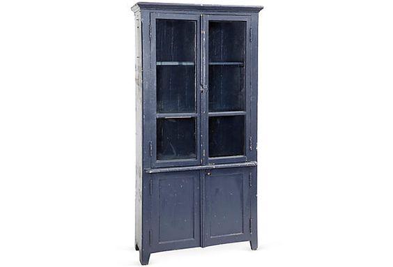 Vintage Blue Hutch w/Glass Doors on OneKingsLane.com