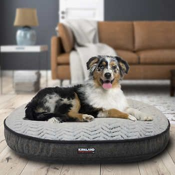 Kirkland Signature 42 Round Pet Bed Gray Textured Chevron Plush Pet Bed Grey Bedding Pets