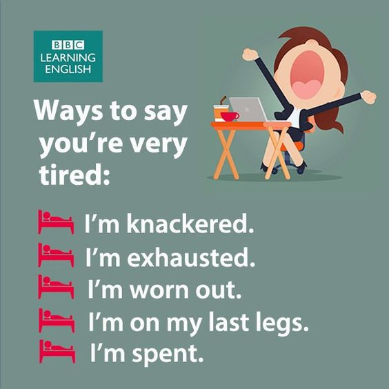 Ways to say you're very tired: